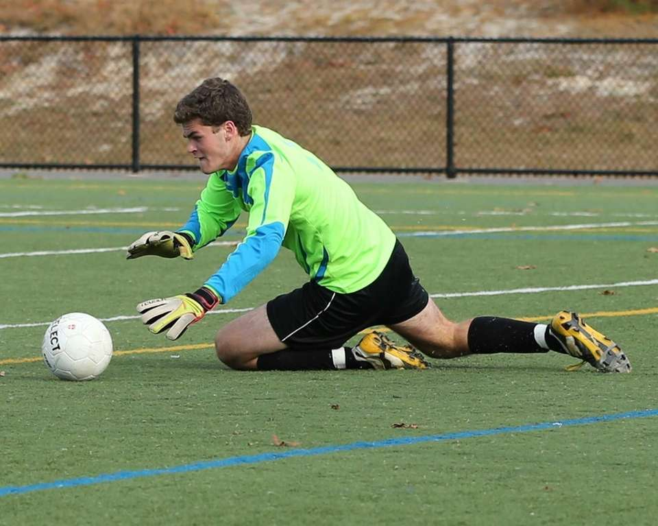 Pierson/Bridgehampton goalie Nick Stevens makes a save against
