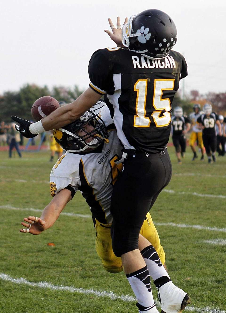 Commack defensive back Augie Contressa (4) was called