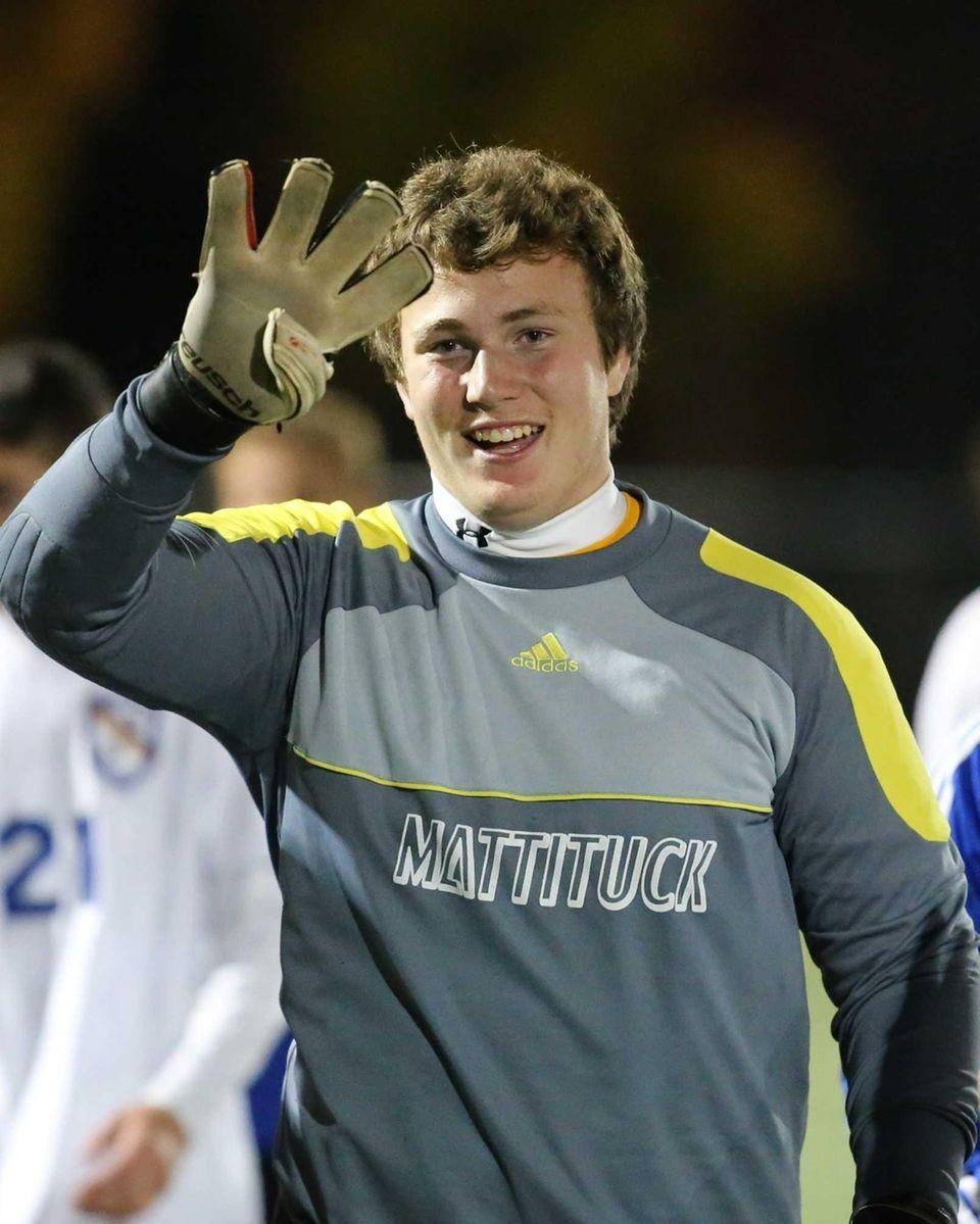 Mattituck goalie Stephen Ostrowski gestures after Mattituck defeated