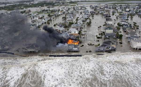 Fire destroys homes along the beach on Galveston