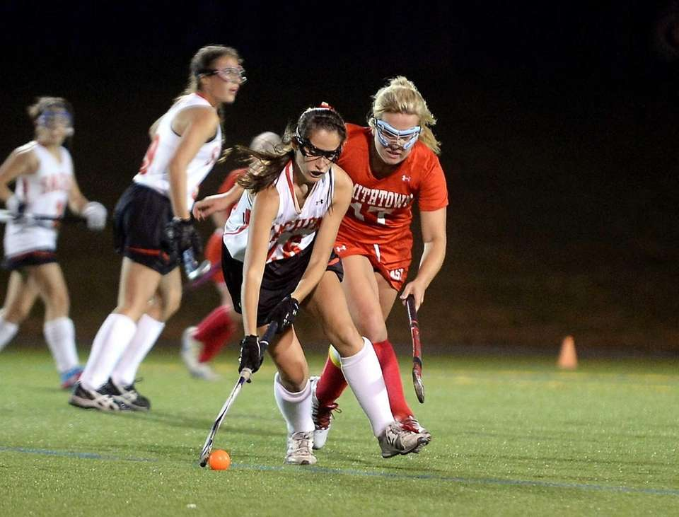 Sachem East junior Kaitlyn Shanahan controls the ball