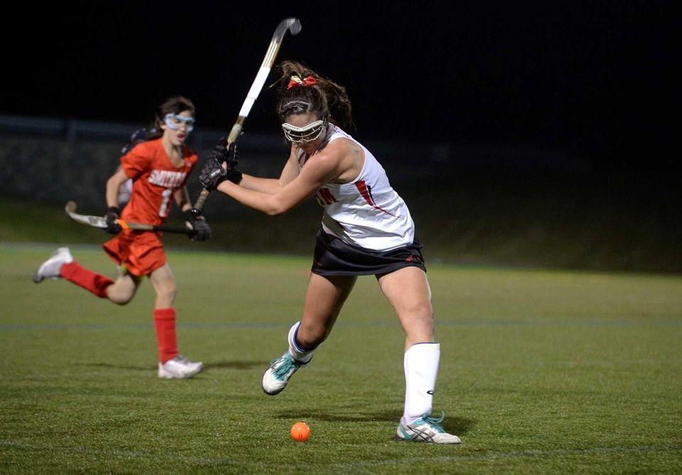 Sachem East senior Katie Trombetta controls the ball