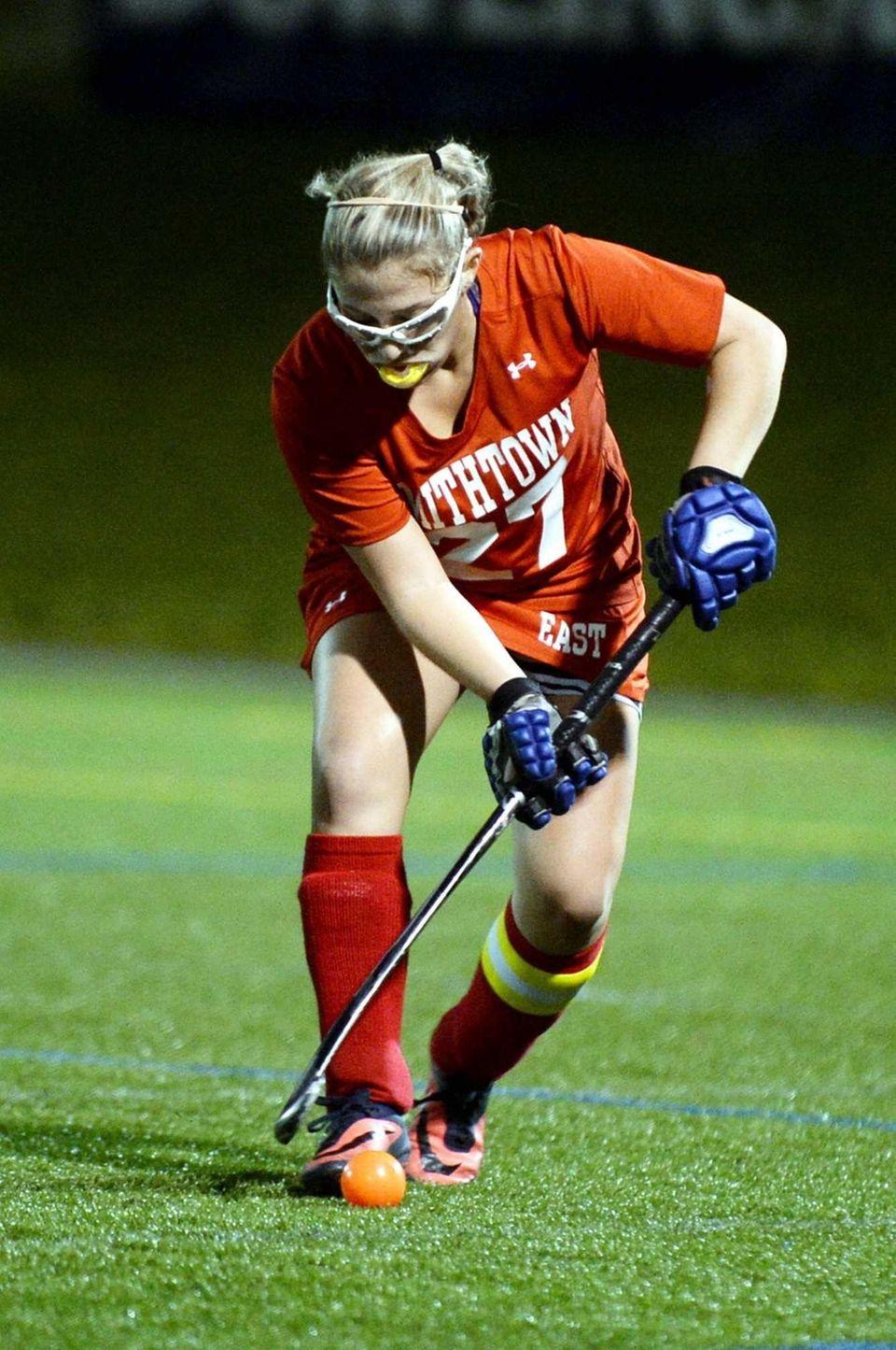 Smithtown East senior Kristina Freshour controls the ball