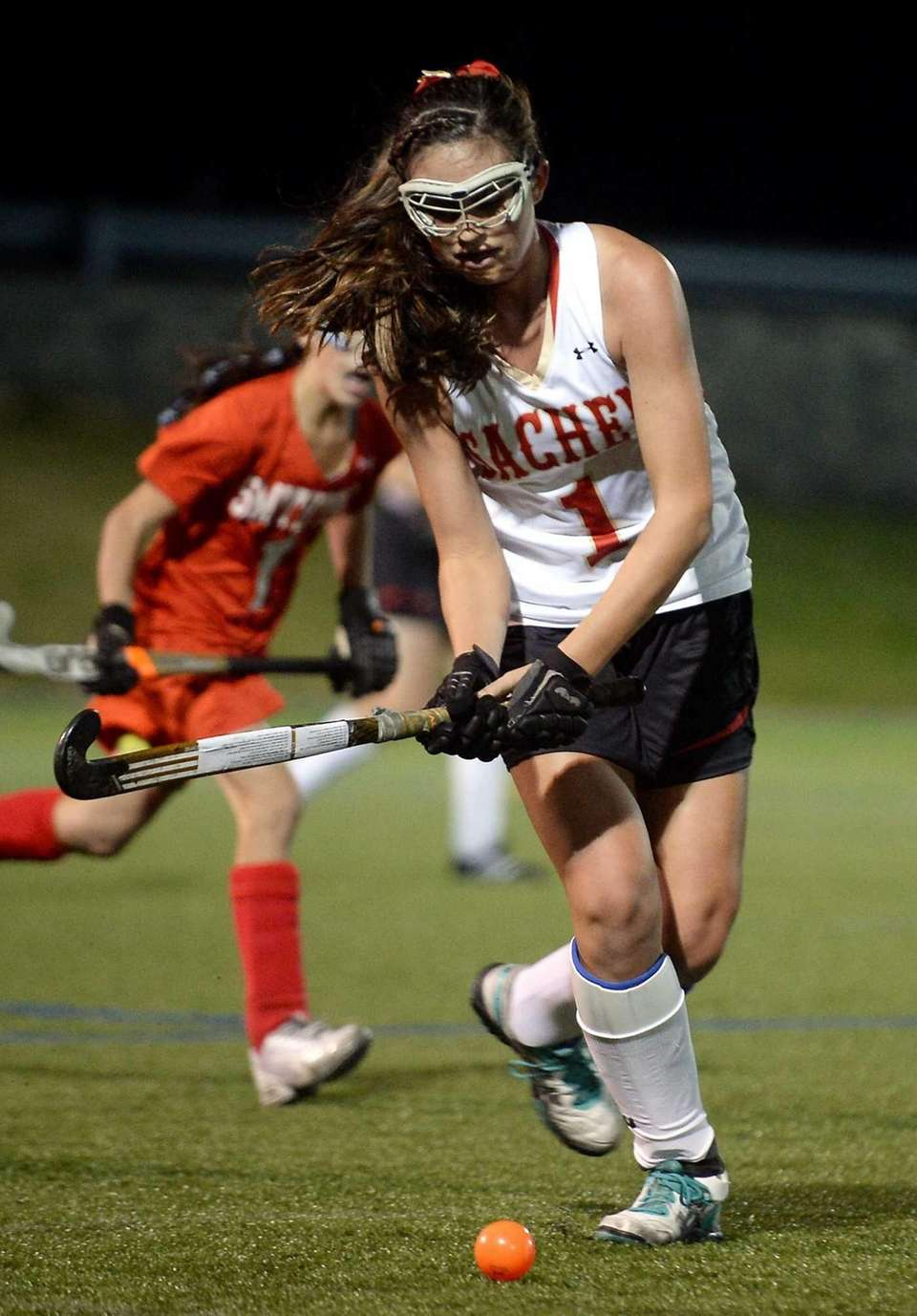 Sachem East senior Katie Trombetta controls the ball