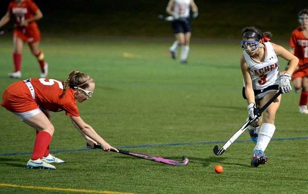 Sachem East senior Taylor Giordano controls the ball