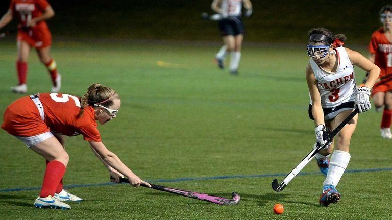 Sachem East senior Taylor Giordano controls the ball