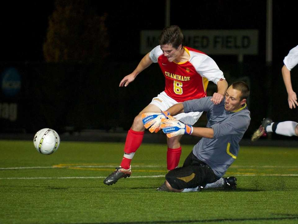 St. Anthony's goalie Joshua Weiss dives to stop
