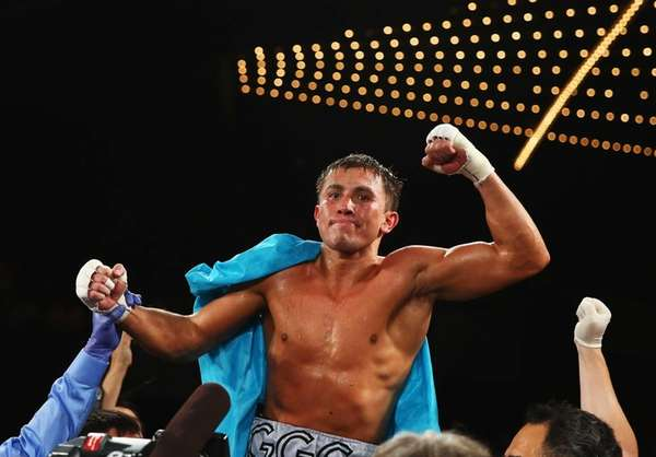 Gennady Golovkin celebrates his eighth round TKO against
