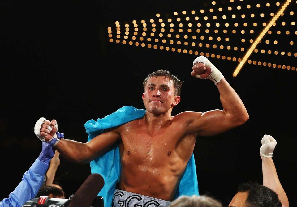 Gennady Golovkin celebrates his eighth round TKO against