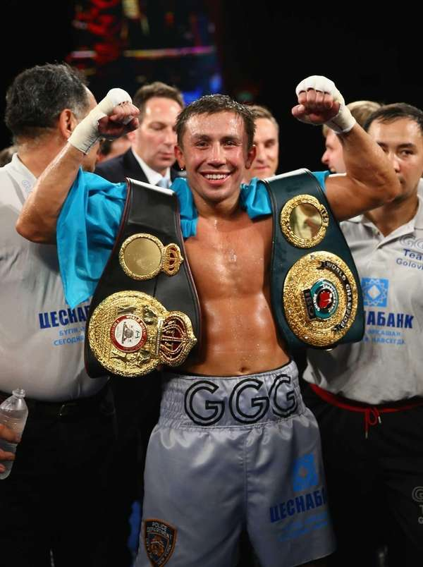 Gennady Golovkin celebrates his eighth-round TKO against Curtis