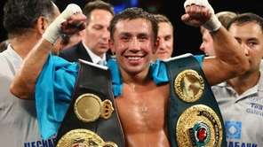 Gennady Golovkin celebrates his eighth-round TKO against Curtis