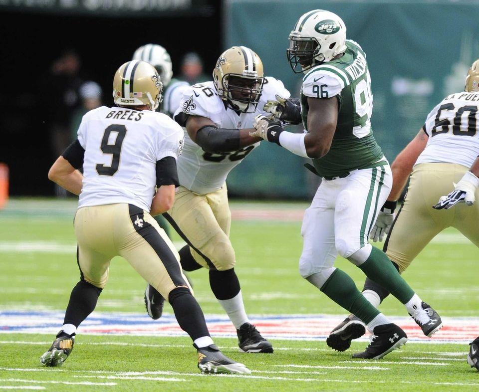 Muhammad Wilkerson (96) pressures New Orleans Saints quarterback