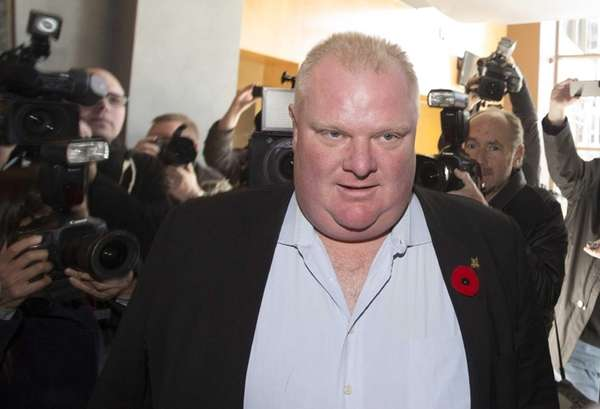 Toronto Mayor Rob Ford arrives to talk on