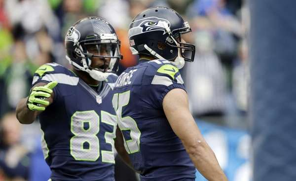 Seattle Seahawks wide receiver Ricardo Lockette (83) greets