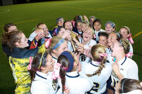 Massapequa reacts after winning the Nassau County High
