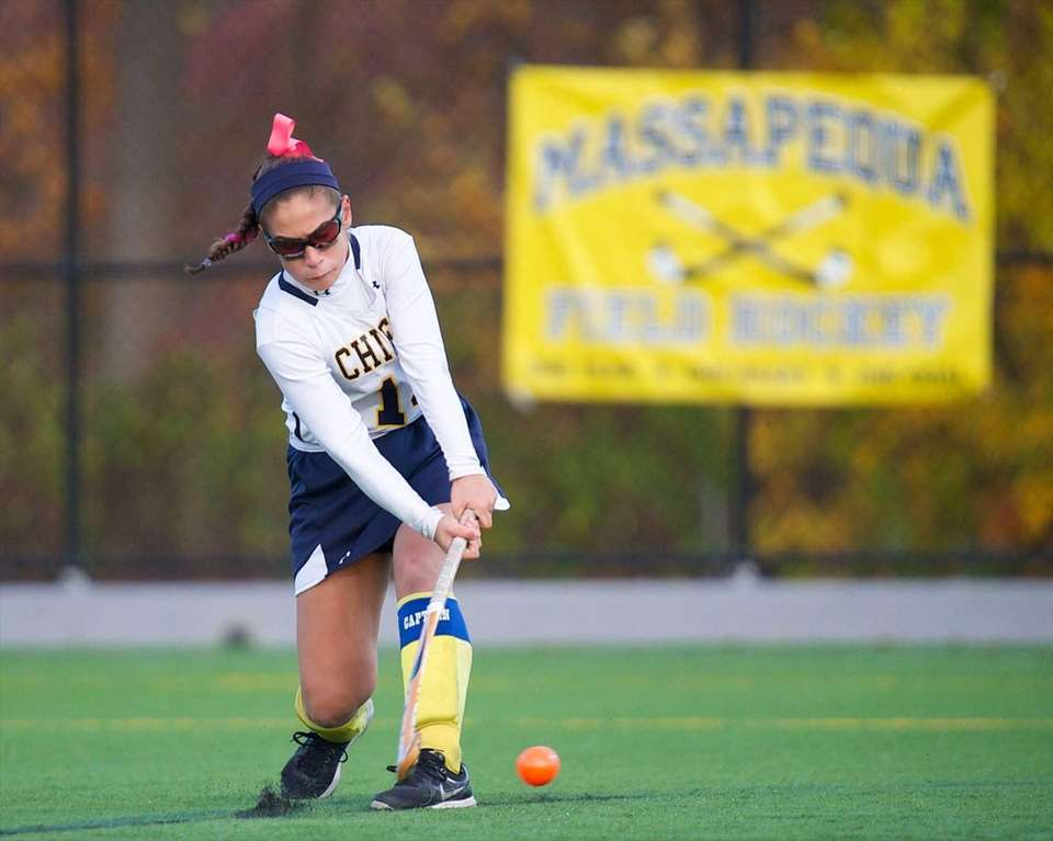 Massapequa midfielder Rachel Sieber (14) scores a goal