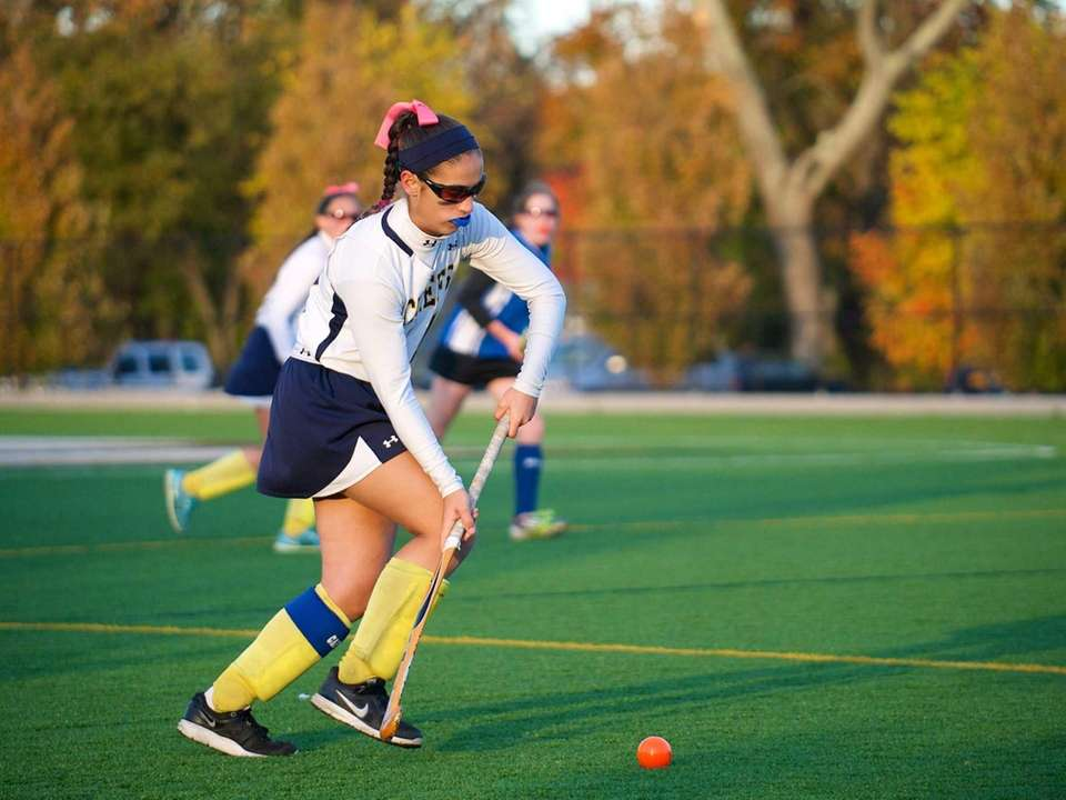 High school girls field hockey action took place