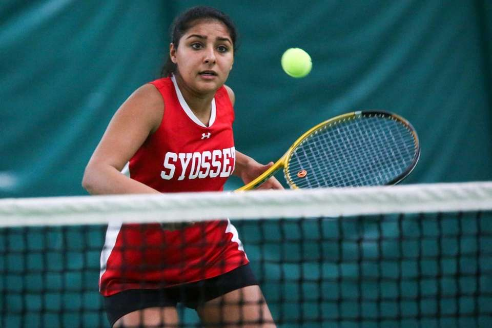 Syosset's Rhea Malhotra returns the during the quarterfinals.
