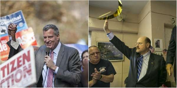Bill de Blasio, left, campaigns at a rally