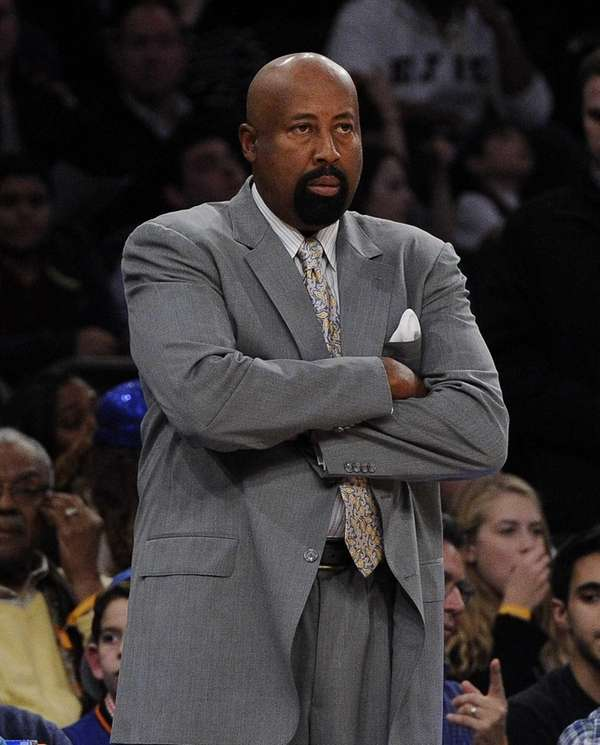Knicks head coach Mike Woodson looks on against