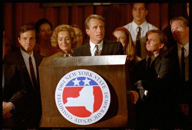Linus Roache as Robert Kennedy makes his speech