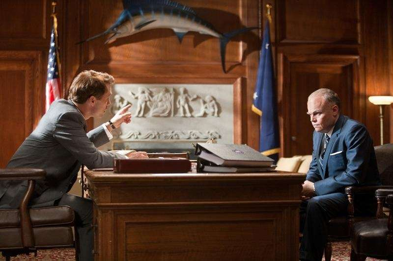 Jeffrey Donovan portrays Robert F. Kennedy, left, and