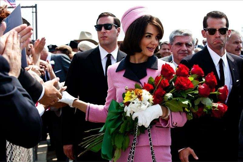 Katie Holmes portrays Jacqueline Kennedy in a