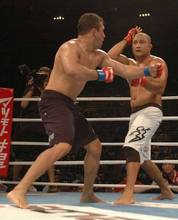 Brazilian Jiu-jitsu legend Renzo Gracie, left, fights B.J.