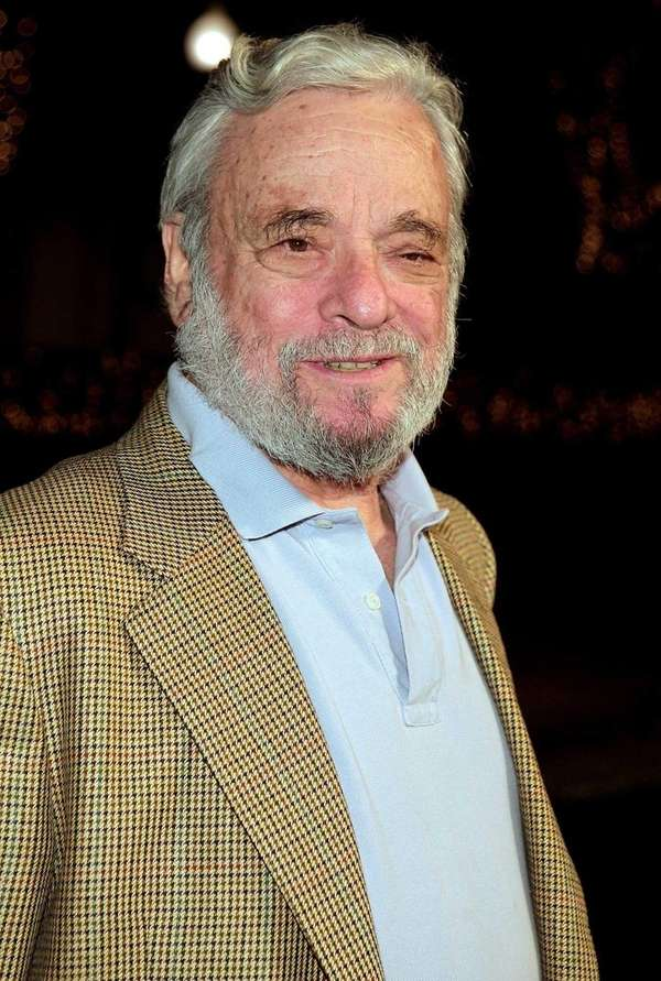 Writer/composer Stephen Sondheim arrives at the special screening