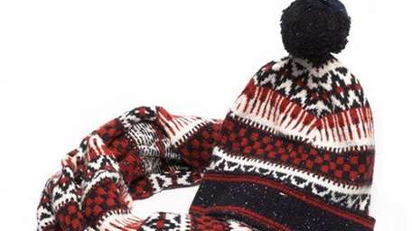 Wool blend scarf, $49, and hat, $39; at