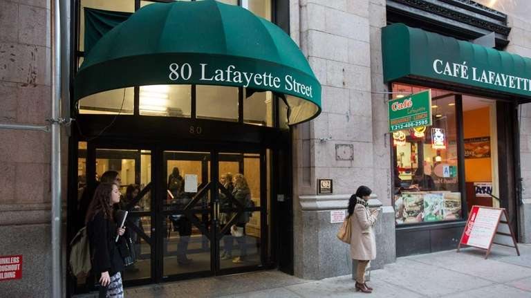 The entrance to NYC dorms at 80 Lafayette