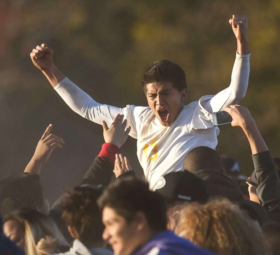 Central Islip's Misael Rosa celebrates after scoring the