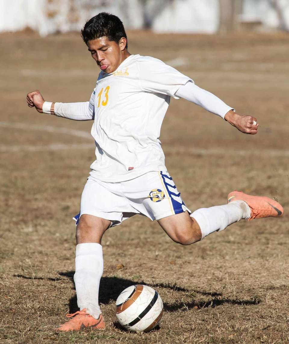 Central Islip's Misael Rosa takes a shot on