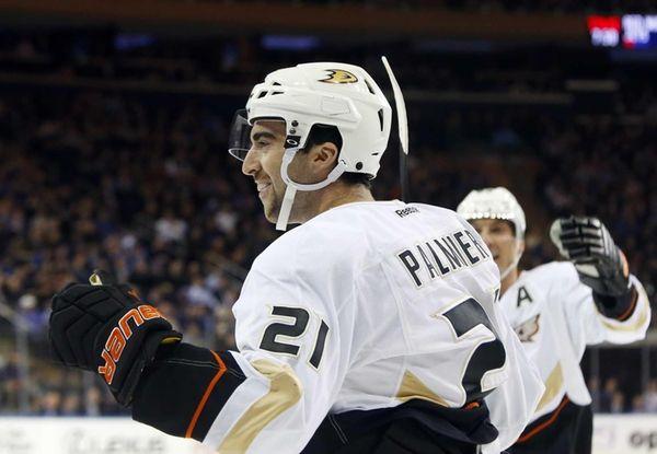 The Anaheim Ducks' Kyle Palmieri celebrates his first-period