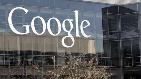 A Google sign is pictured at the company's