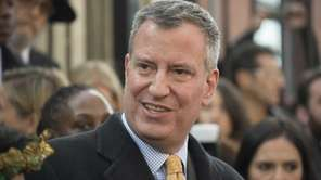 Democratic Mayoral candidate Bill de Blasio speaks to