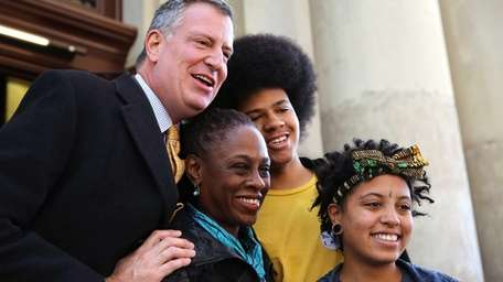 Bill de Blasio and his family at their