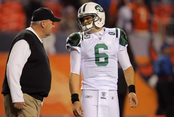 Head coach Rex Ryan and Mark Sanchez of