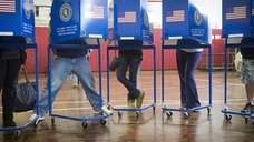 Long Beach residents voting at Lindell Elementary School