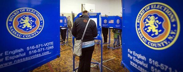 Long Beach resident Ellen Attanasio votes at Lindell