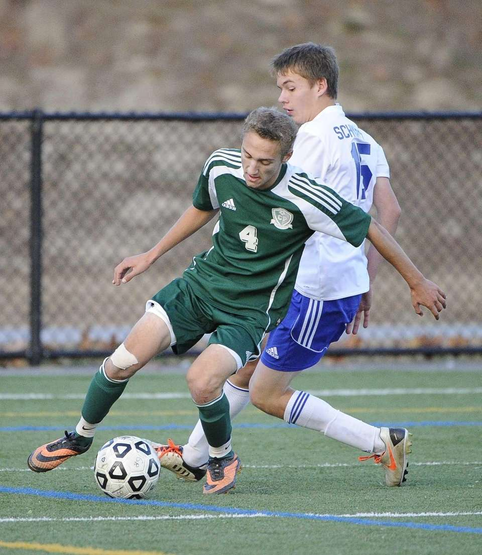 Carle Place's Dylan Klein controls the ball against
