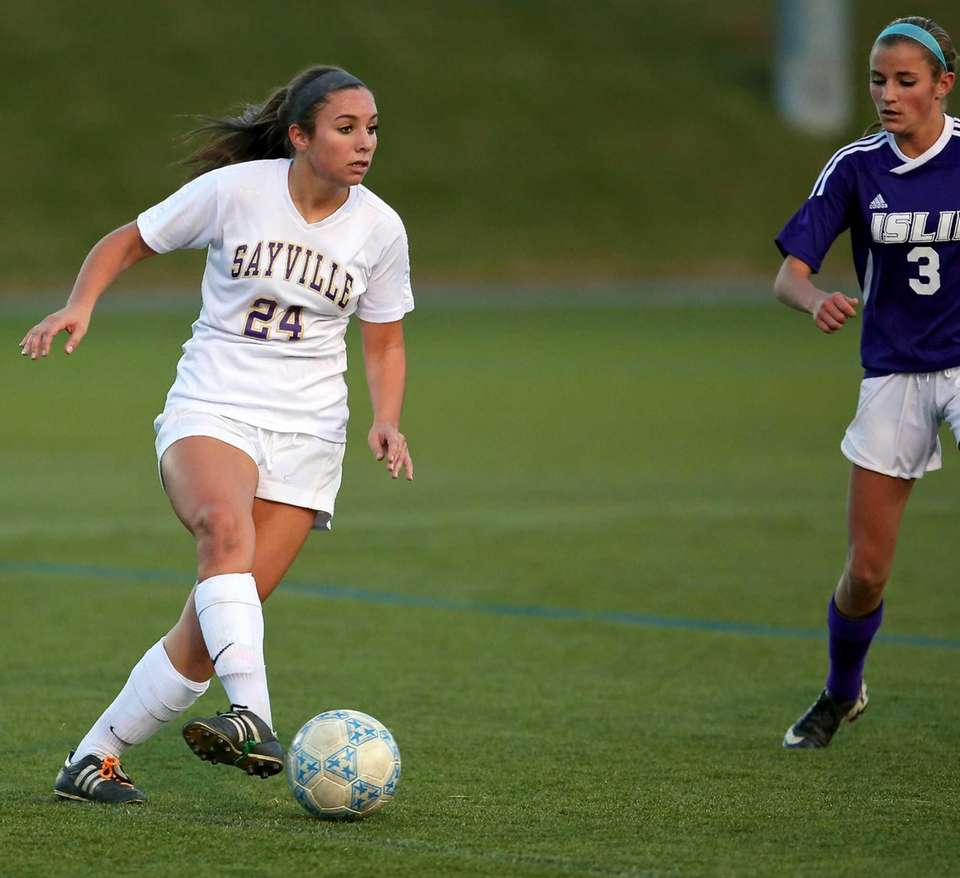 Islip's Ashley Coia looks to pass as Islip's