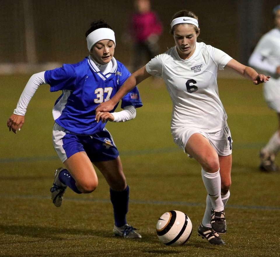 Northport's Miki Martinov moves the ball past West