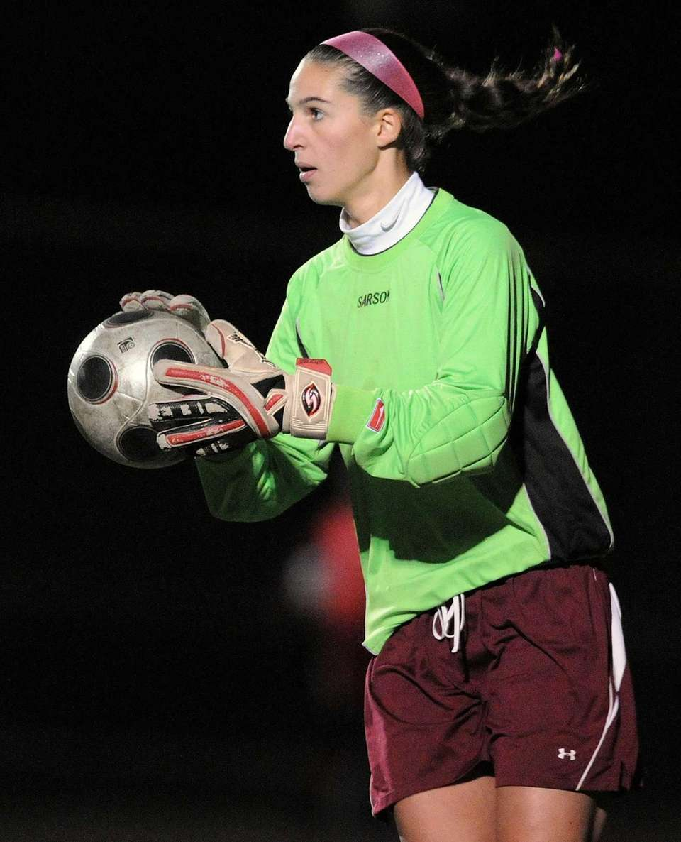 Garden City goalie Taylor Carpentier prepares to kick