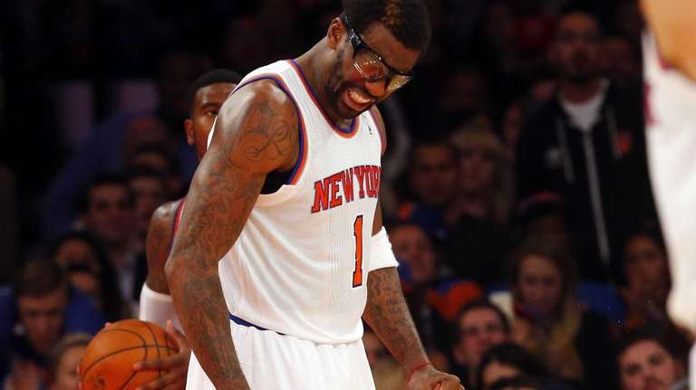 Amar'e Stoudemire of the Knicks reacts after losing