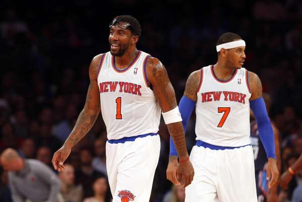 Knicks forwards Amar'e Stoudemire (left) and Carmelo Anthony