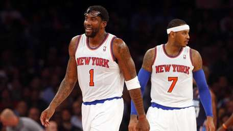 Knicks forwards Amar'e Stoudemire (left) and Carmelo Anthony