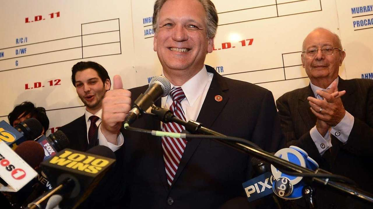 County Exectutive Edward Mangano addresses supporters at his