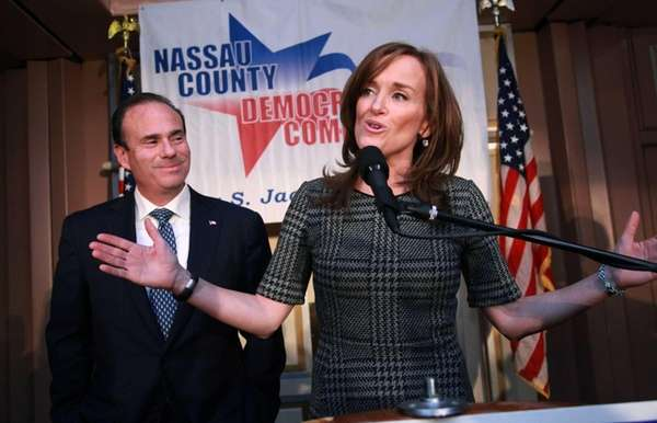 Nassau County District Attorney Kathleen Rice speaks to