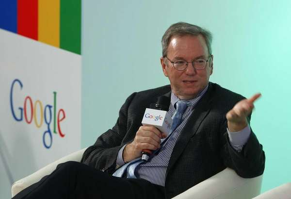 Eric Schmidt, executive chairman of Google, speaks during